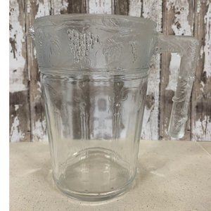 Vintage French Pressed Glass Clear Pitcher